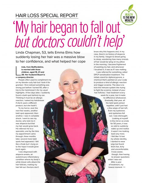 Hair loss special report by Emma Elms. September edition, Women and Home Magazine